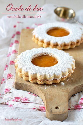 Biscotti occhi di bue con frolla alle mandorle - almond cookies