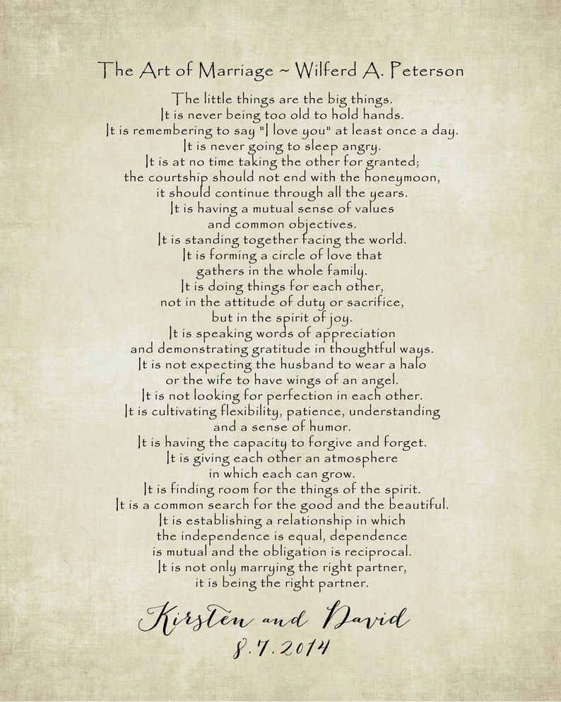 The ART of MARRIAGE Poem Print, Personalized Wedding Blessing Gift, Custom Anniversary gift, Poster 8 x 10, Choose Colors and Font -   19 ressional wedding Songs ideas