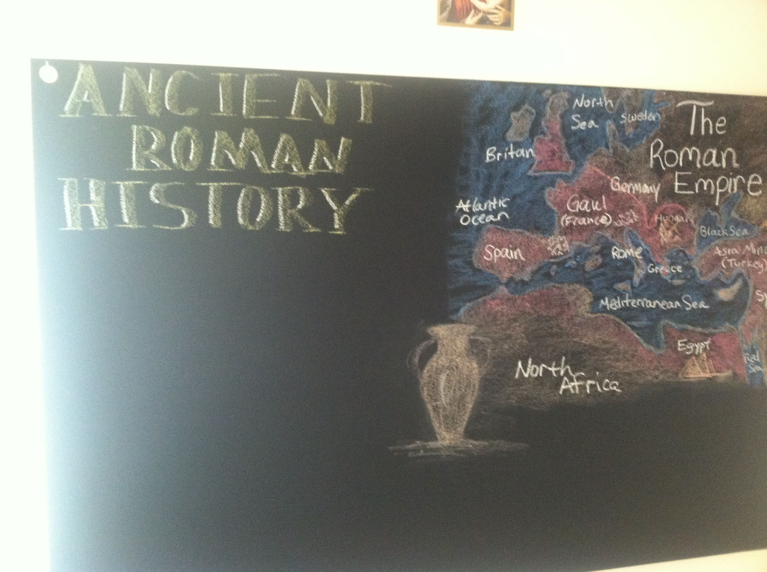 Waldorf home school Ancient Rome History day 1 chalk board Map of