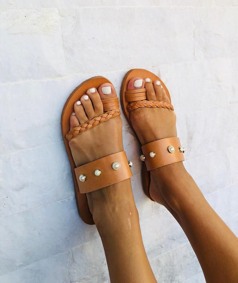 b7f8ce9ca1f8a Flat Leather Sandals Brown, Women Sandals, Handmade Sandals, Made ...