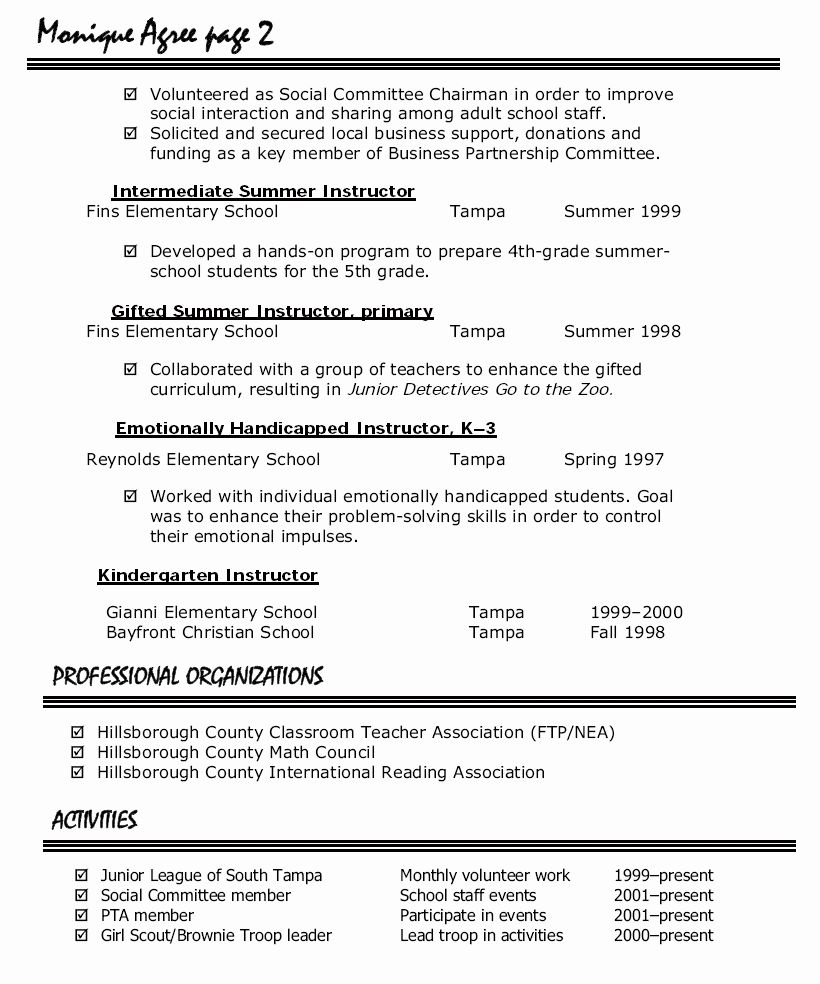 Preschool Teacher Resume Template Elegant Resume format