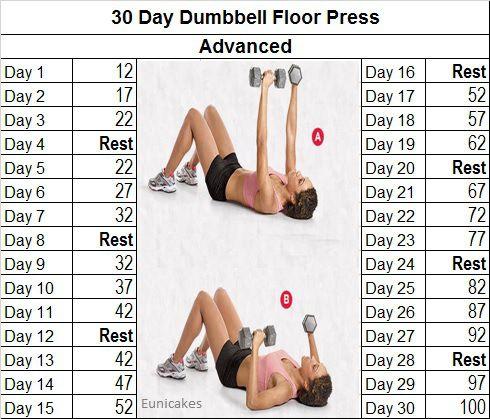Fitness Challenge 30 Day Dumbbell Floor Press Workout Challenge Workout Challenge Beginner Workout Challenge 30