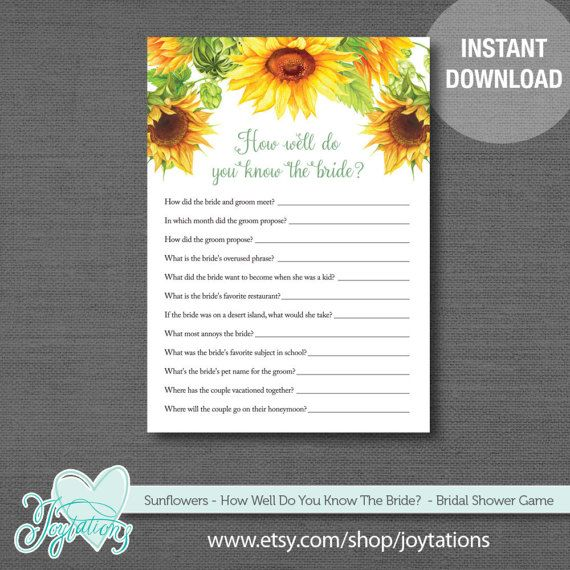 Sunflowers How Well Do You Know The Bride, Bridal Shower Game by Joytations on Etsy. For details visit: https://www.etsy.com/listing/517205867