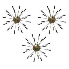 Three beautiful chandeliers, Design Stilnovo 1950