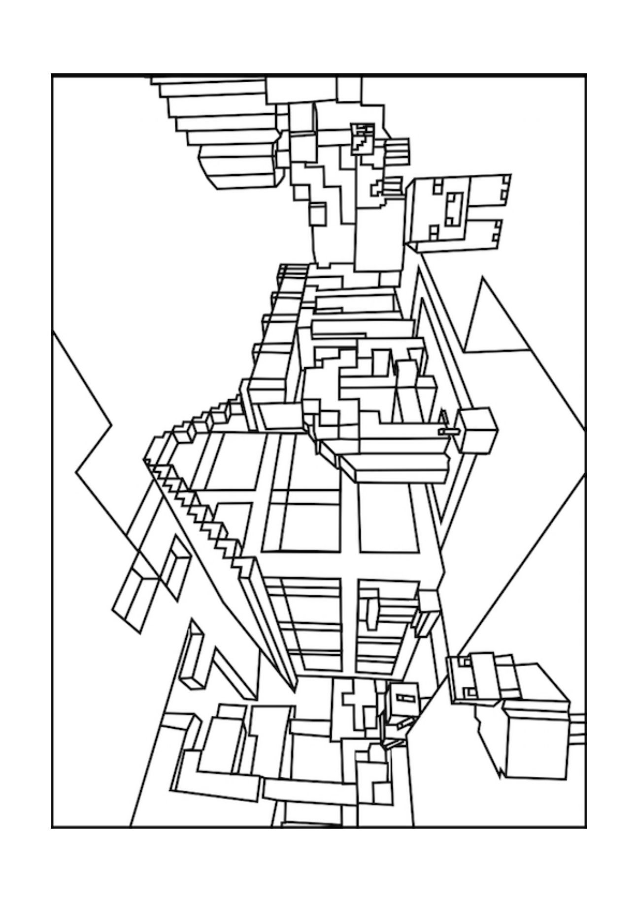 A minecraft house coloring page