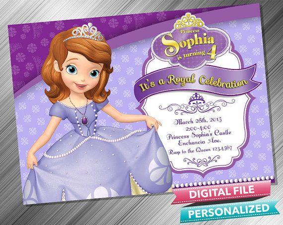 Princess Sofia Invitation by kidspartydiy on Etsy