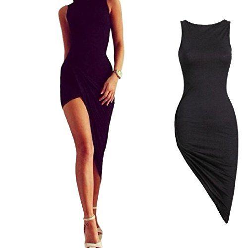 Robe de Soirée Pour Femme Honestyi Ourlet Asymétrique à Volants Robe Club  V-Neck Sexy 2f46f3a05767