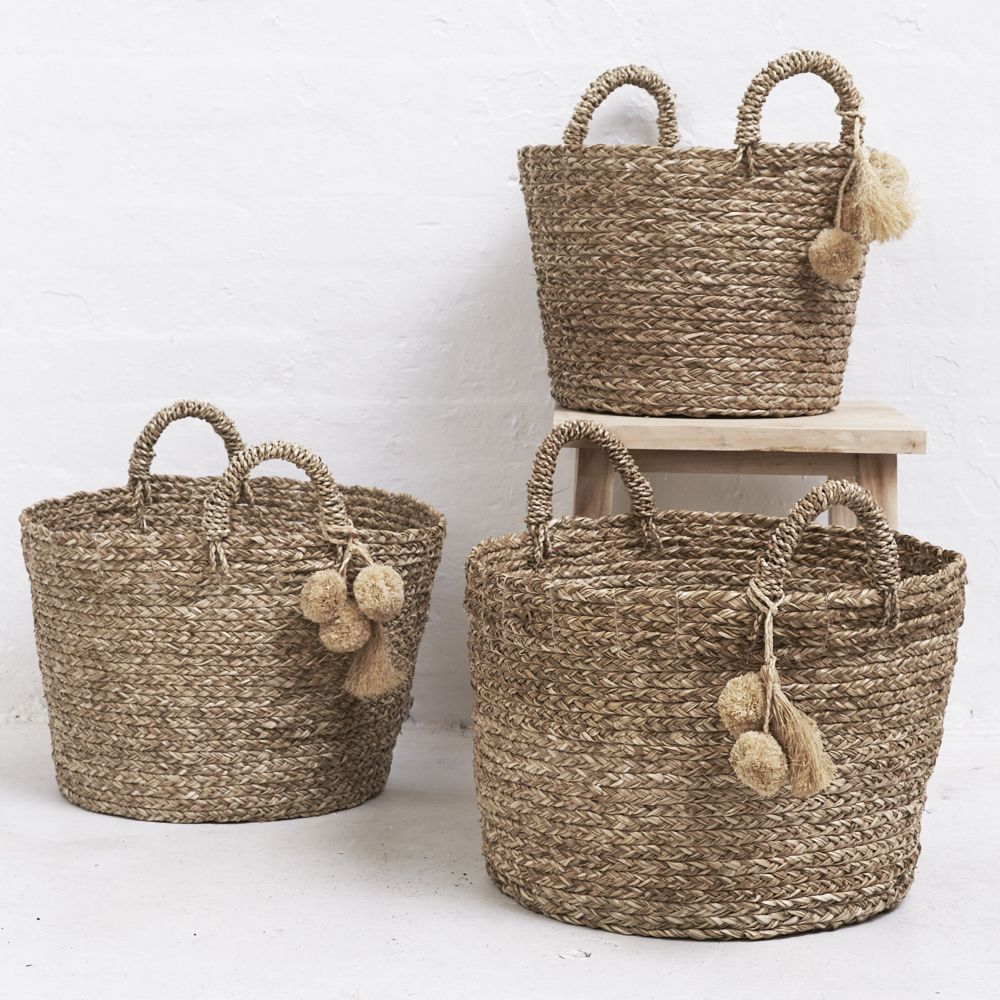 POM POM HANDWOVEN BASKET Handwoven Baskets from Java, Indonesia. Our baskets are made from natural fibres using traditional weaving techniques providing beautiful functional pieces with a textural feel