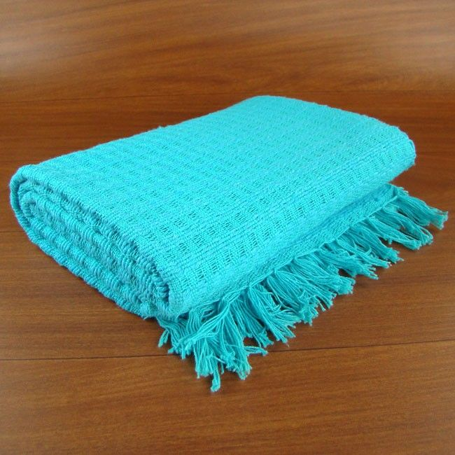 Manta de sof em tear manual azul turquesa sala - Sofa azul turquesa ...