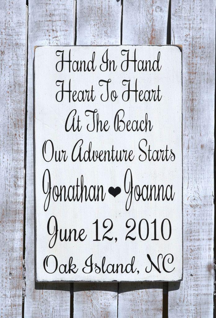 Custom Wood Wedding Sign, Beach Wedding Gift, Personalized Hand In ...