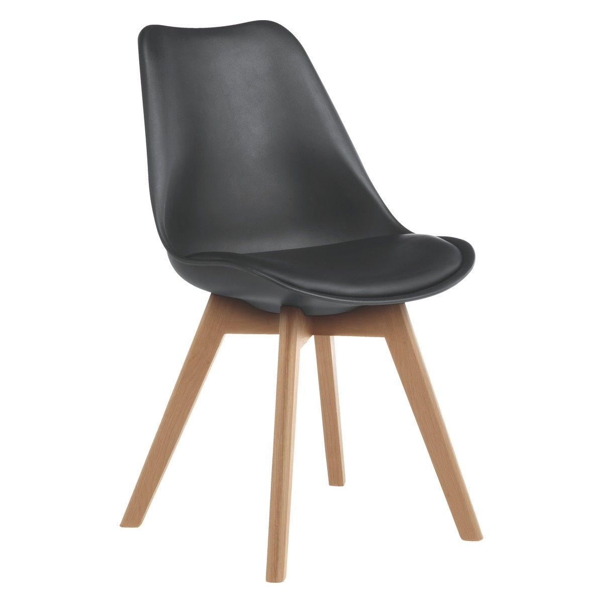 JERRY Black dining chair with solid oak legs   Dining chairs, Solid ...