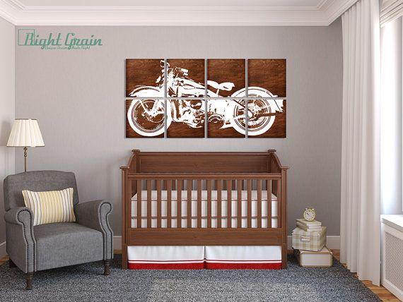 XL Motorcycle On Dark Wood Panels X Custom Garage Art For - Custom vinyl wall decals for garage