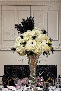 Black white and silver floral arrangement with feathers black black white and silver floral arrangement with feathers mightylinksfo