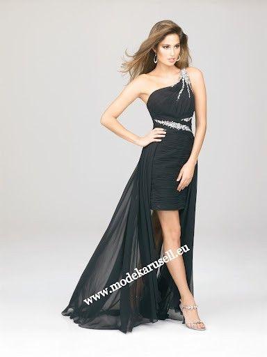 Schwarzes One Shoulder Vokuhila Kleid Abendkleid | Anziehsachen ...