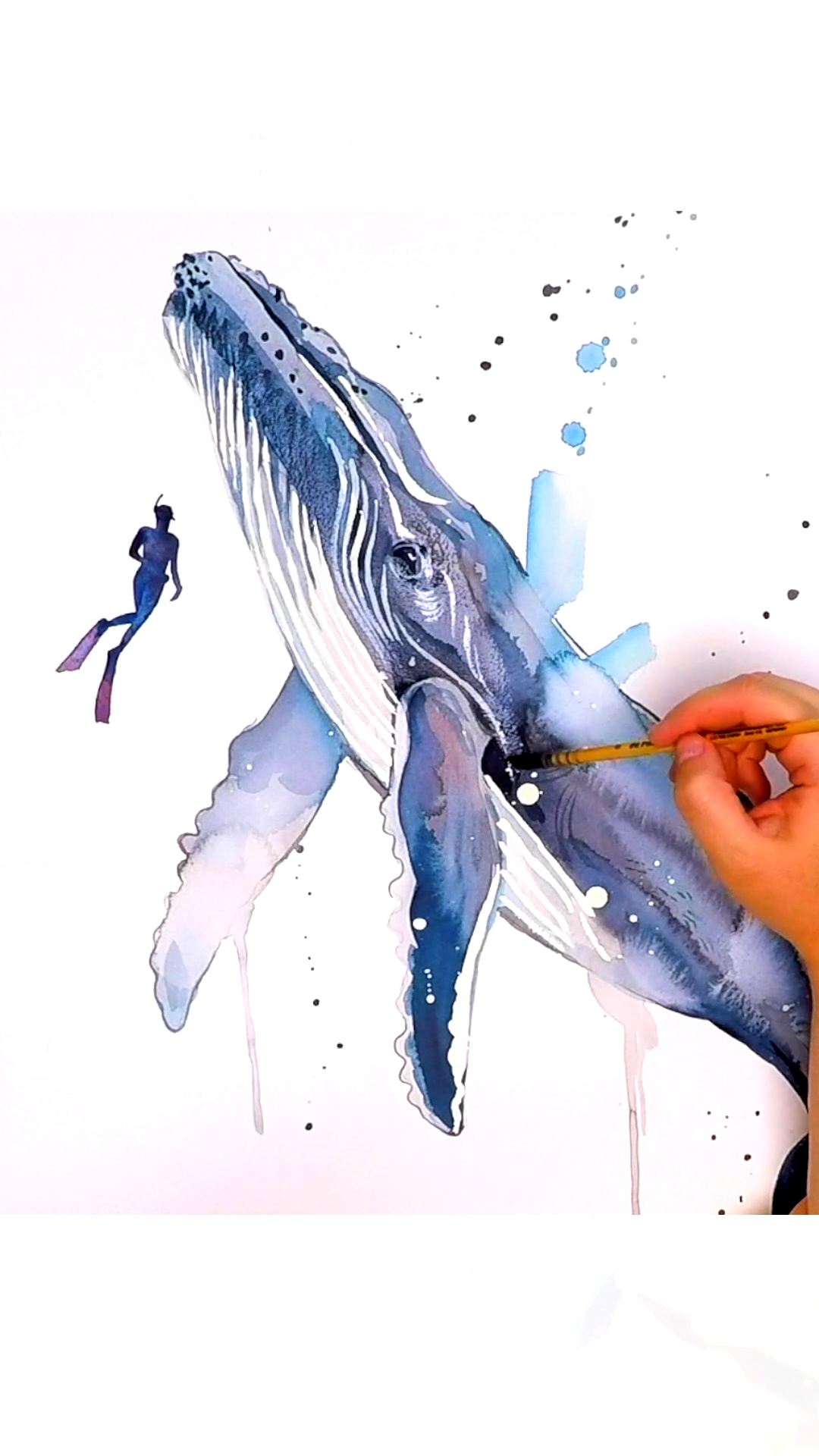 Photo of Scuba Diving with Humpback Whale watercolor painting by Slaveika Aladjova