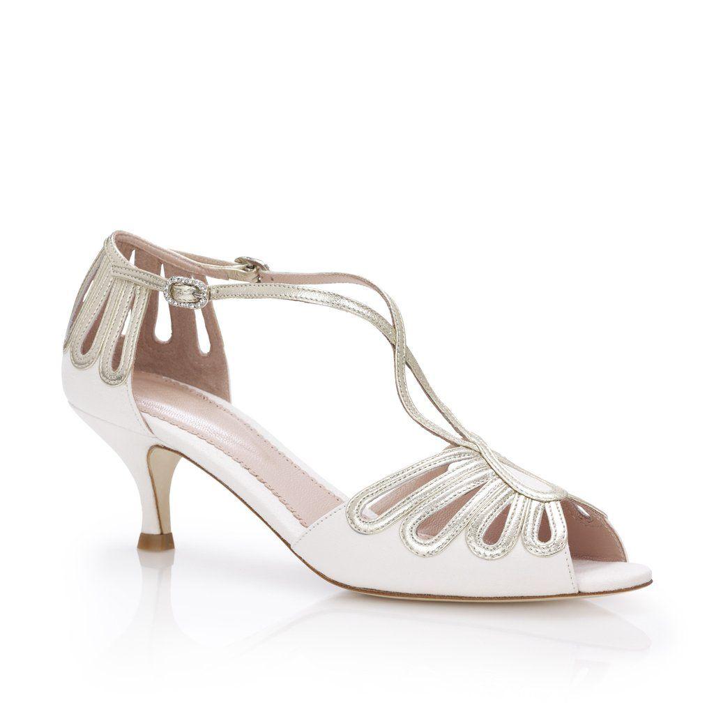 Leila Gold Kitten Low Heel Wedding ShoesLow