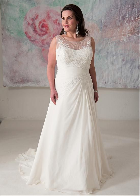 Buy Discount Glamorous Tulle Chiffon Scoop Neckline A Line Plus Size Wedding Dress With