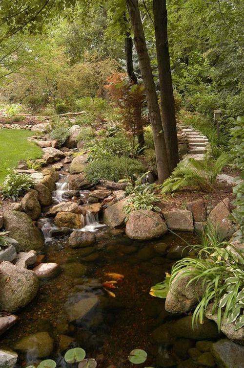 fontaine-jardin-cascade-eau-foret-boisjpg (500×752) GARDEN - Cascadas En Jardines