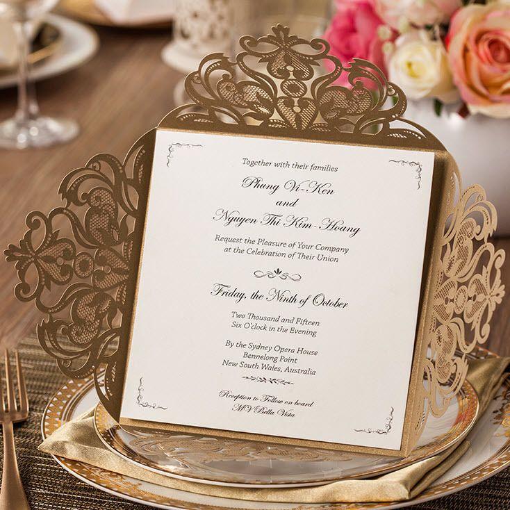 Dark Gold Laser Retro Flower Patterns Wedding Invitations Cards with ...