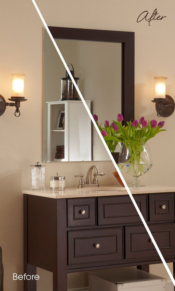 A Dark Mirror Frame In A Rich Wood Tone Makes The Mirror Pop And Completes The Look Of The B Contemporary Bathroom Mirrors Glass Bathroom Decor Interior Design