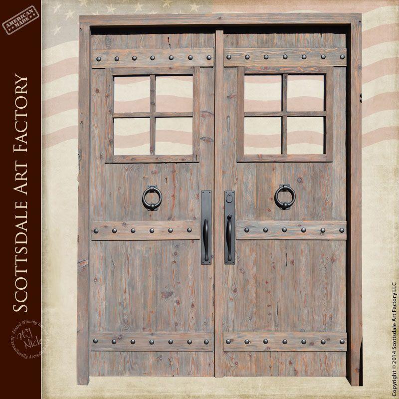 Double Doors Custom Wood Entry Doors With Windows Handmade In
