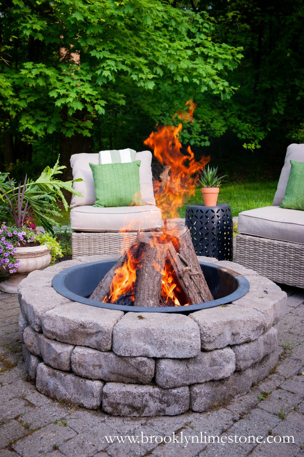 Brooklyn Limestone in 2020 | Fire pit patio, Fire pit ... on Living Room Fire Pit id=35168