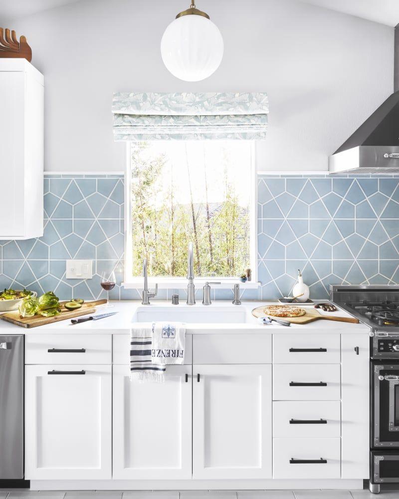Blue Kitchen Flooring Ideas: Orlando Soria Blue Kitchen Renovation Before And After