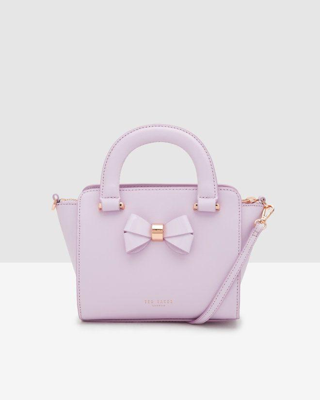 e887c65ea346d Mini bow crosshatch leather shopper bag - Lilac