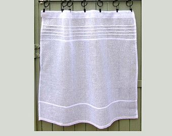 Custom Small White Sheer Linen Panel Kitchen Window Curtain French Cafe