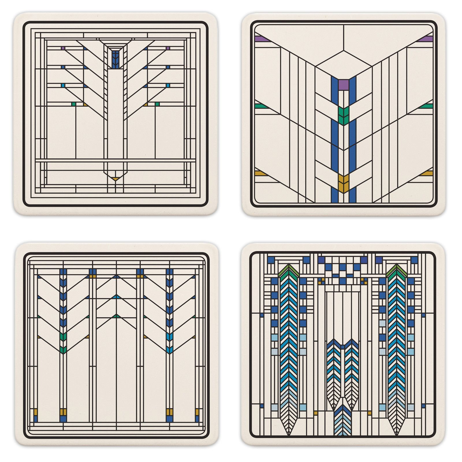 Frank Lloyd Wright Ennis House Windows Coasters Set Of 4
