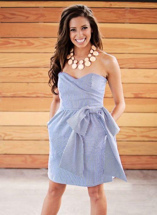 Judith March Navy Seersucker Strapless Dress Dresses Fashion
