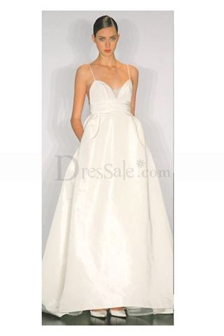 Adorable White Wedding Gown Features Spaghetti Straps and Cute Scalloped Bodice