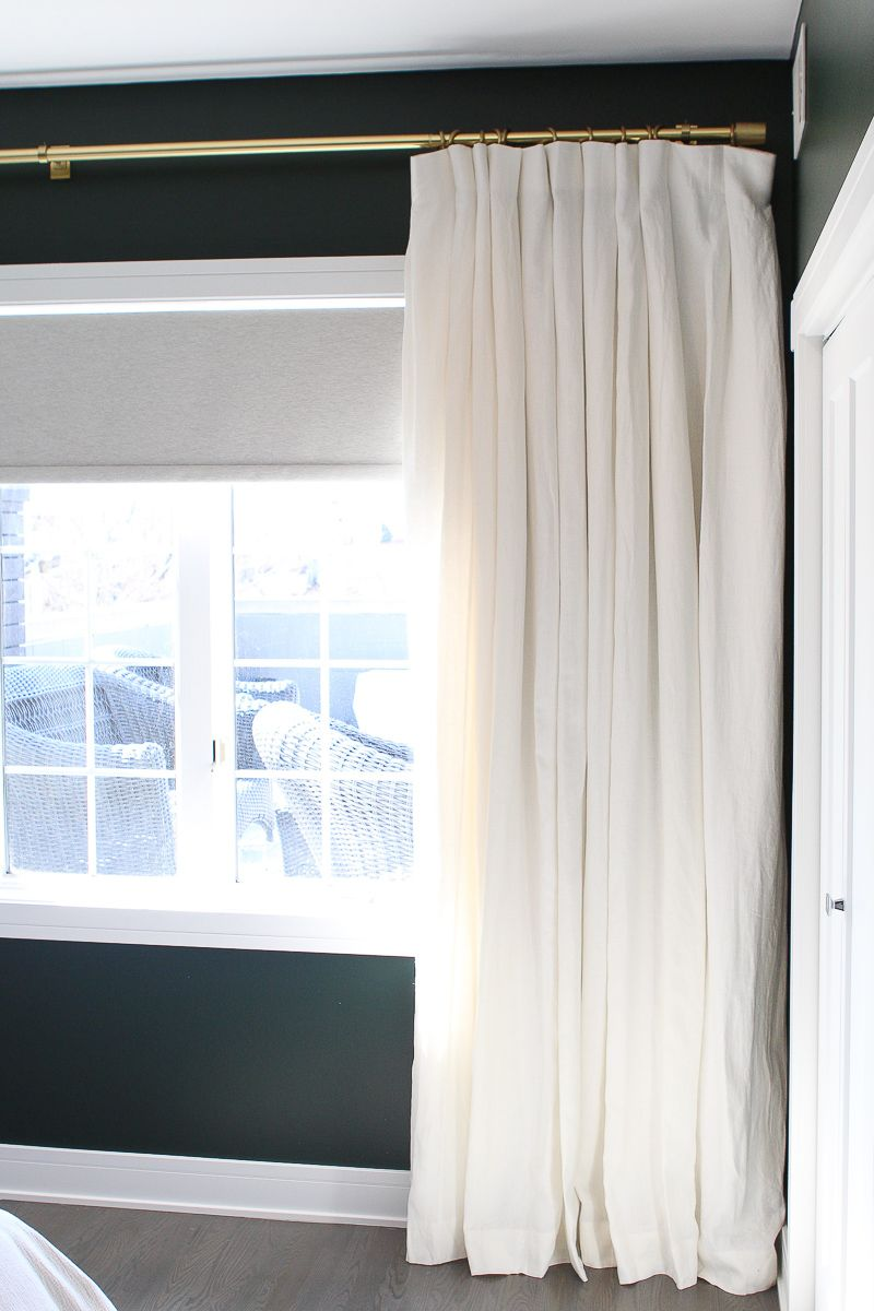 How To Hang Curtains In A Bedroom The Diy Playbook White Curtains White Curtains Bedroom Dark Green Walls