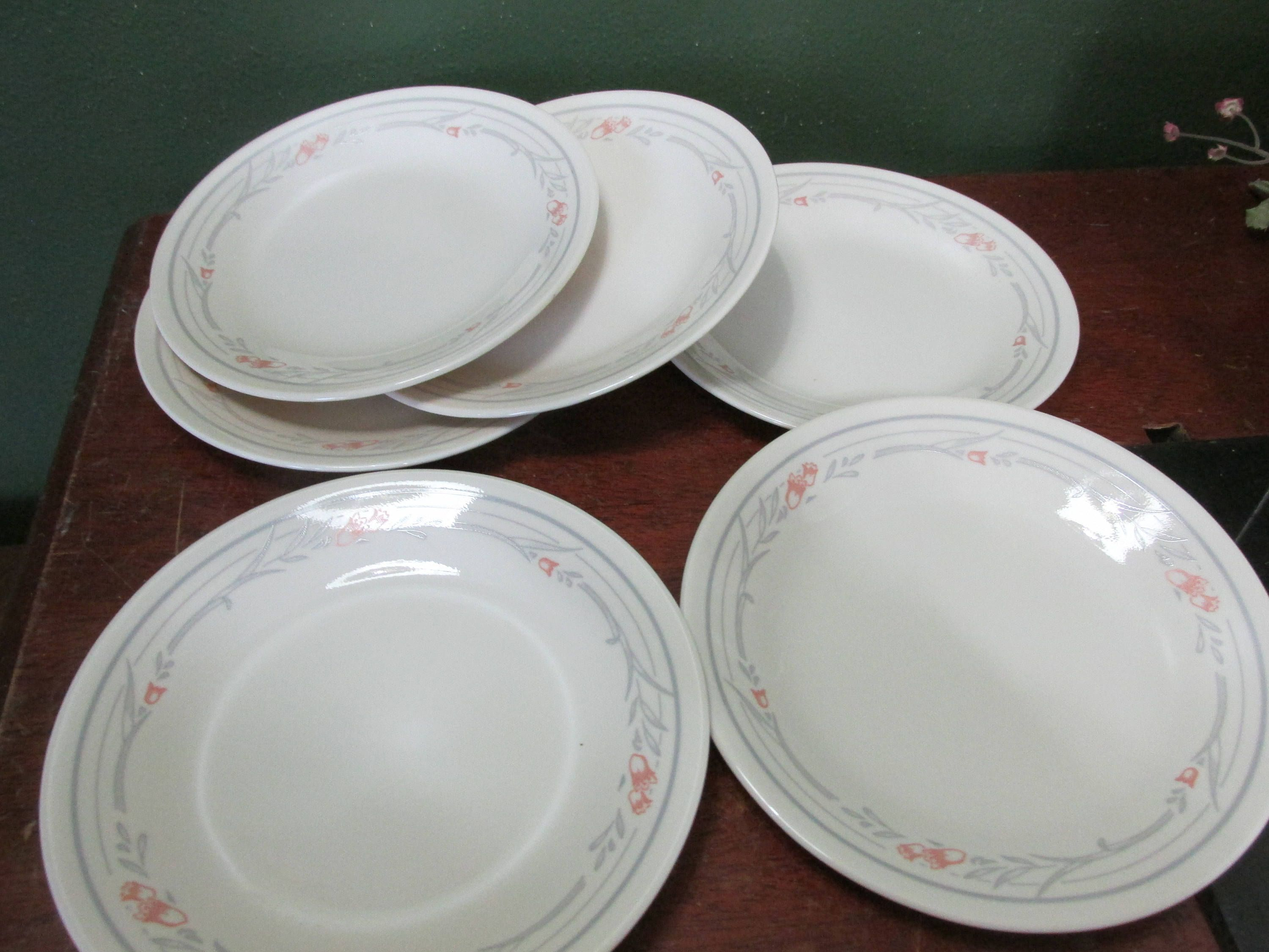 Corelle Luncheon Plates 6 34 Inch Vintage Rose Pattern Corning Ware