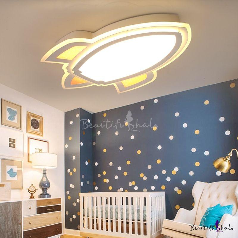 Simple Style Led Light Cartoon Rocket Shape Ceiling Light For Kids Room Bedroom False Ceiling Design Bedroom Ceiling Light Ceiling Lights