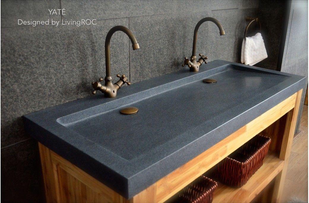 47 X 19 Trendy Grey Granite Stone Double Vessel Sink Yate