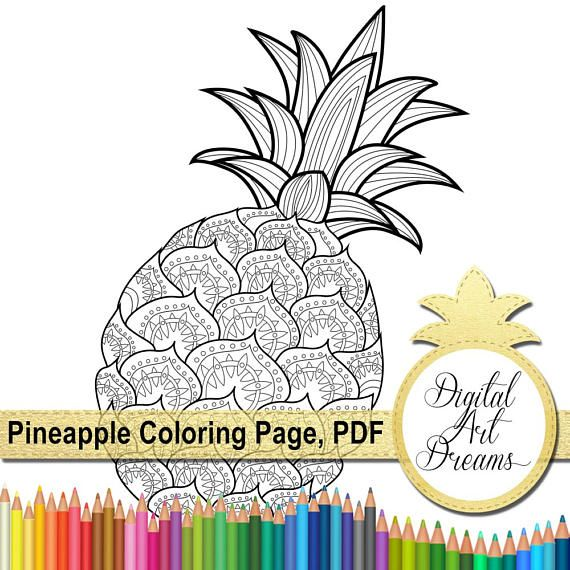Pineapple Coloring Page PDF Pages For Adults JPG