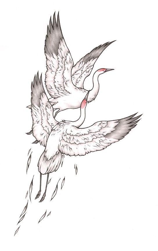 Cranes Eskiz Tatu Risunki Eskizy Tatuirovok