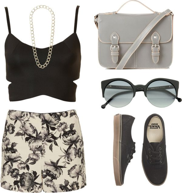 """""""Floral Shorts"""" by lindsjayne ❤ liked on Polyvore"""
