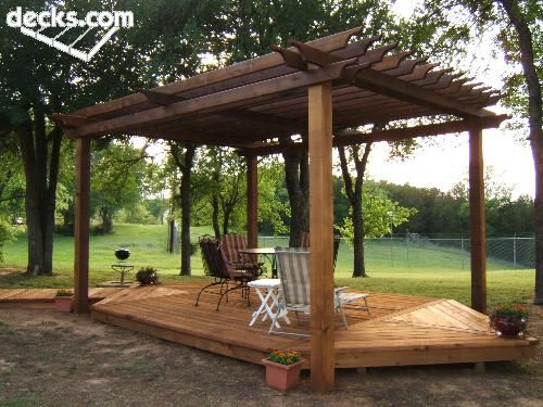 Trex Deck Over Your Concrete Patio With Pergola Over It And Some Wisteria  Growing Over The