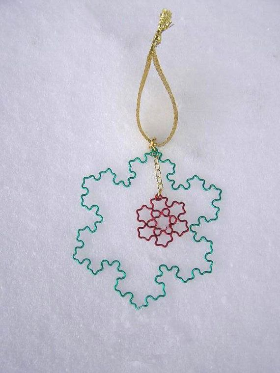 Fractal Ornament - Koch Snowflake Duo - Christmas Green and Red ...