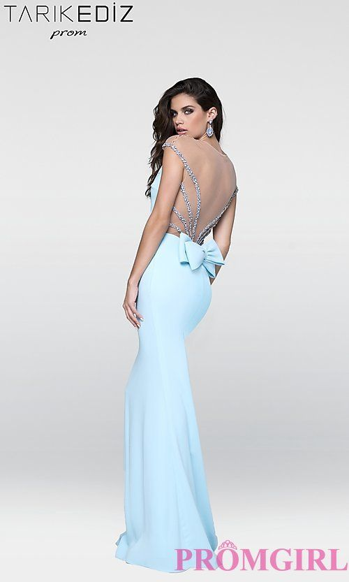 Sheer Back Prom Dress with Cap Sleeves