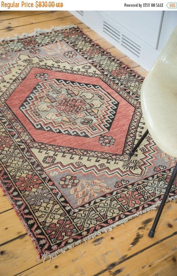 15% OFF & FREE PAD 3.5x5.5 Vintage Oushak Rug by oldnewhouse | $705.50