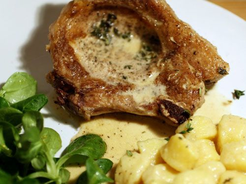 Pork Chops with Cider Cream Sauce and Thyme