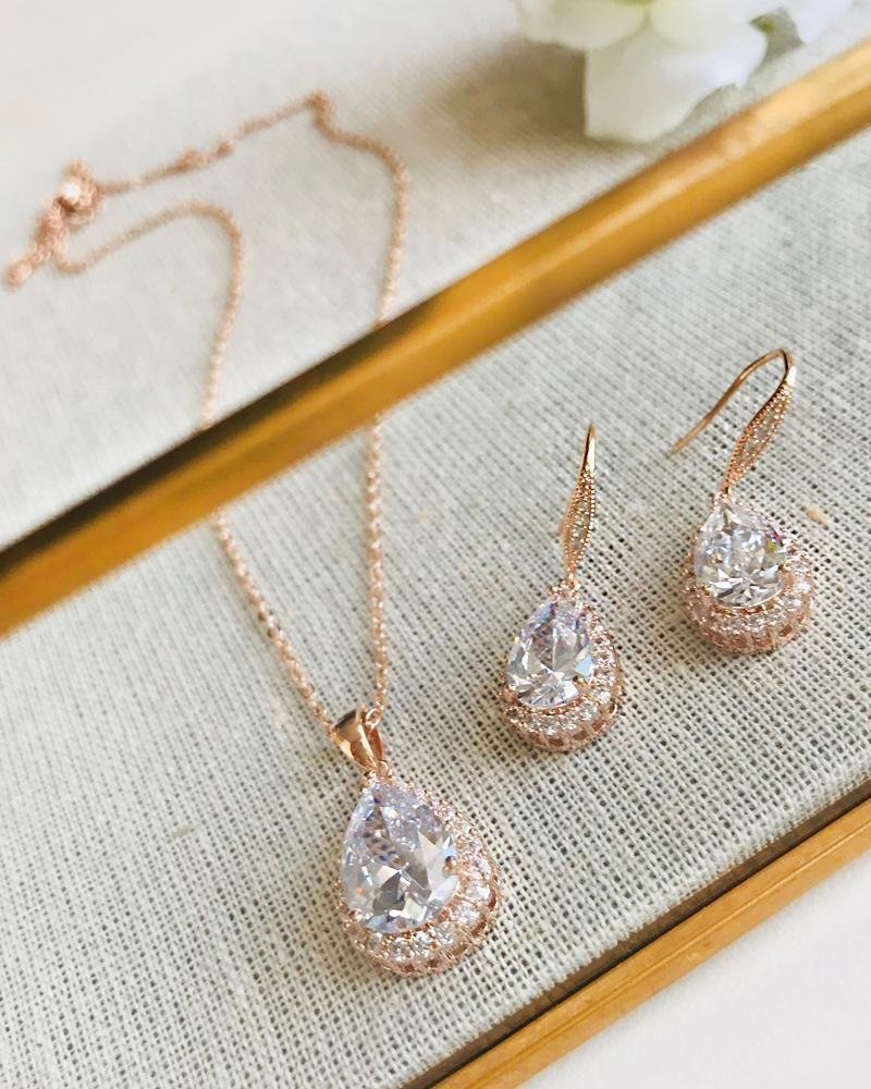 Ellie Cz Bridesmaid Jewelry Set Jewelry Set For Bridesmaids Wedding Jewelry For Brid Bridal Accessories Earrings Gold Jewelry Gift Wedding Bridesmaid Jewelry