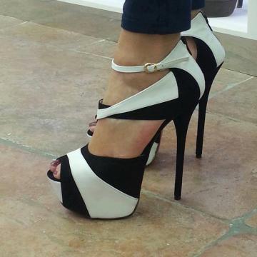 5d317084210 Black   White Two Tone Platform Heel