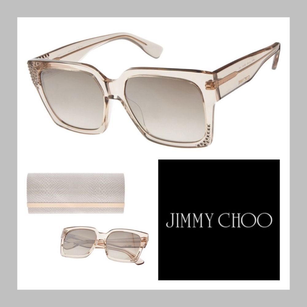 20de35dadf6 Jimmy Choo Chunky Square Sunglasses in Transparent Gold Frames with Crystals