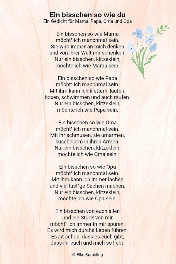 Ein Bisschen So Wie Du Gedichte Für Kinder Danke Gedicht