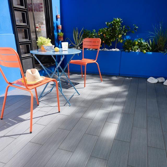 Carrelage extérieur Lamco gris 15 x 60 cm - CASTORAMA terrasse - photo terrasse carrelage gris