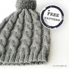 Photo of simple cable hat for children and adults …